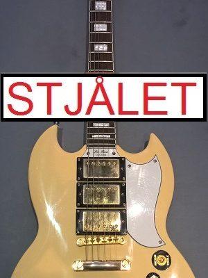Epiphone (Gibson) Les Paul Custom m. skade på ryg – STJÅLET