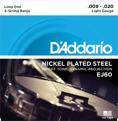 D'Addario banjostrenge, 5-strenget, light EJ60